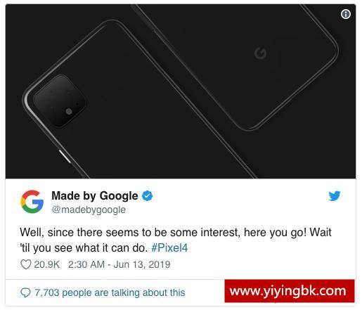 谷歌推特自曝Pixel4镜头设计漂亮 自家手机自家介绍