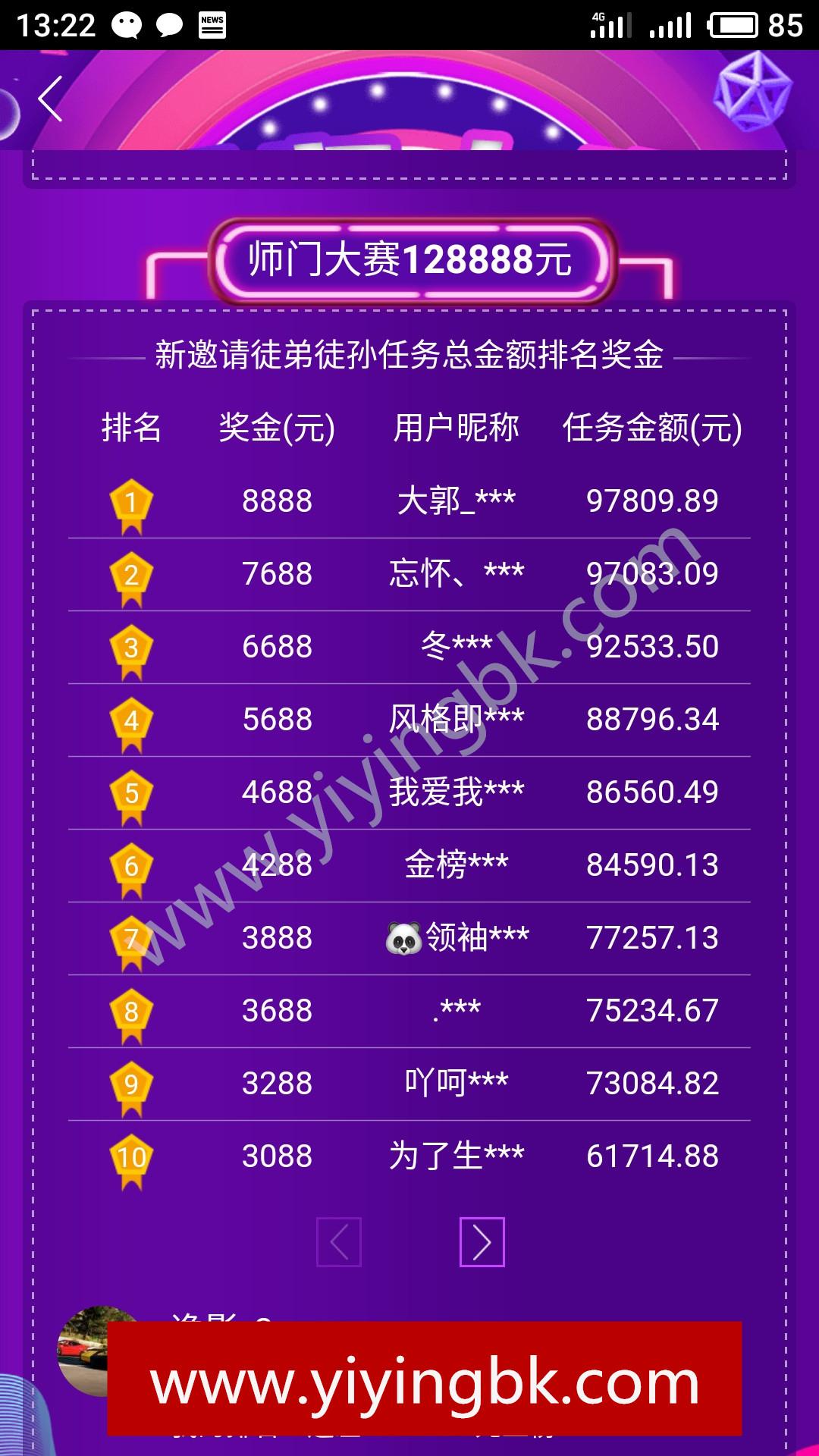 师门大赛128888元排行榜,微信和支付宝提现秒到账,www.yiyingbk.com
